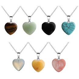 love crystals gemstones NZ - Long Link Chain Heart Shaped Gemstone Rock Natural Quartz Crystal Healing Chakra Stone Pendant Necklace For Men Women Jewelry Chains