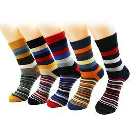 China Men 'S Color Stripes Socks The Latest Design Popular Men 'S Socks 5 Pairs Striped Socks Suit Fashion Designer Coloured Cotton 6 -11 cheap men striped suit designs suppliers