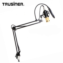 Laptop Filter Australia - Wholesale BM800 BM 700 Studio Recording Condenser Mic Microphone with Suspension Arm Stand Shock Mount and Pop Filter for PC Computer Laptop