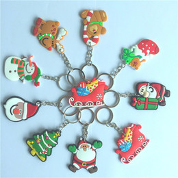 santa claus cartoons for kids NZ - Xmas Gift Christmas key chain snowman Santa Claus Christmas keyring for kids gift Cartoon pendant creative gift 9 color 130pcs T1I927