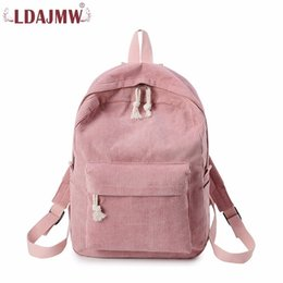 Corduroy baCkpaCks wholesale online shopping - LDAJMW Woman Backpack Corduroy Backpack School Bag For Teenage Girls Travel Rucksack Kawaii Harajuku Bag