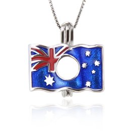 Chinese  925 Sterling Silver The flag of Australia Pearl Cage pendants DIY charms , 18*17.9*8.8mm, Free Shipping manufacturers