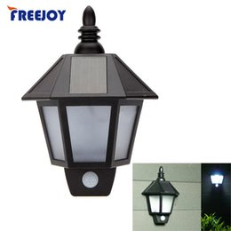 Wholesale Waterproof LED Solar Light Motion Sensor Outdoor Activated Hexagonal Wall Lamp Garden Automatically ON at Night Path Lighting
