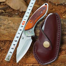 $enCountryForm.capitalKeyWord Australia - BUK 271 Tactical Hunting Knives 12C27M Steel Folding Blade Knife with Rosewood Handle Leather Sheath Outdoor Jackknife Survival Tools