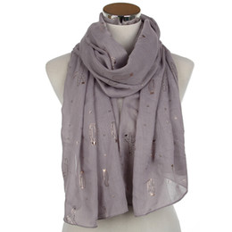 white cotton infinity scarf UK - New Fashionable Grey Pink White Wine Lightweight Bronzing Foil Gold Cactus Long Infinity Scarf For Womens