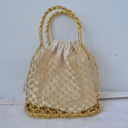 $enCountryForm.capitalKeyWord Canada - Gold, silver 2color bright paper ropes hollow woven bag cotton lining straw bag female Reticulate handbag netted beach