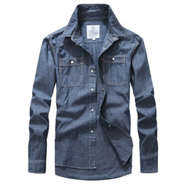 China Fashion Mens Shirt Autumn Men's Denim Shirts Leisure Long Sleeve Shirt Cowboy Shellort Men Clothing Cotton Tops Plus Size XXXL cheap leisure plus suppliers