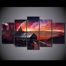art canvas prints Australia - 5 Piece Canvas Art HD Print Home Decor spectacular barn Paintings For Living Room Wall Poster Picture Free Shipping UP-2310C