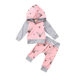 $enCountryForm.capitalKeyWord UK - Newborn Toddler Baby Boys Girls Cute Deer Hooded Sweatshirt Tops Pants 2Pcs Outfits Set Lovely Cotton High Quality Clothes