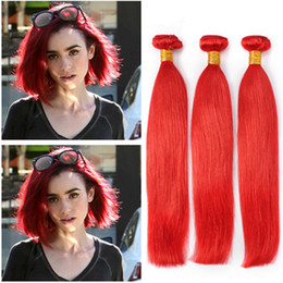 $enCountryForm.capitalKeyWord Australia - Colored Red Brazilian Silky Straight Human Hair Weave Bundles 3Pcs Pure Red Color Human Hair Weaves Extensions Straight Double Wefts