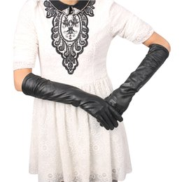 $enCountryForm.capitalKeyWord Australia - women long gloves black faux leather gloves full finger woman ladies warm autumn winter arm warmers 40cm 45cm 50cm Christmas