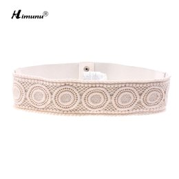 China New Fashion Wide Cotton Knitted Elastic Belt For Women Match Long Skirt Coat Snap Fastener Women Belts supplier leather snap belt suppliers