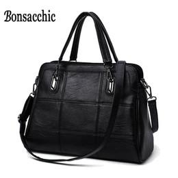 Black Leather Bags Women S Handbags Canada - Bonsacchic Fashion Ladies Hand Bag Women 'S Genuine Leather Handbag Black Leather Tote Bag Bolsas Femininas Female Shoulder Bag