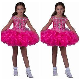 Little Cupcakes Australia - 2019 Off Shoulder Beaded Pageant Cupcake Dresses Toddler Formal Occasion Short Mini Dress Little Crystal Ruffles Tutu Beaded Kids Formal