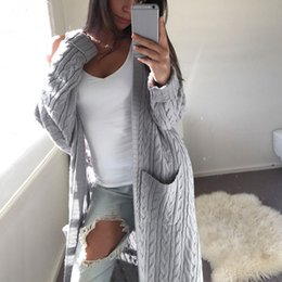 White Elegant Cardigans NZ - High Quality Cardigan Sweaters Women Long Sleeve Outwear New Fashion Female Elegant Pocket Knitted Overcoat Sweaters jumper