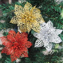 Großhandel 10 stücke Bunte Glitter Künstliche Hohle Blumen Hochzeit Weihnachten Weihnachtsbaum Home Valentinstag Dekorationen