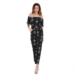 e0eddea7aa0 Off Shoulder Sexy Floral Print Jumpsuits Backless Club Rompers Womens  Jumpsuit Strapless Full Bodysuit Summer Casual Trousers