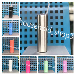 Wholesale New arrived Stainless Steel skinny Tumbler oz Double Wall Vacuum Insulated tumblers pp straw slid lid in stock