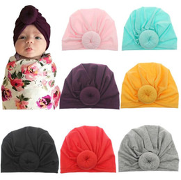 $enCountryForm.capitalKeyWord NZ - Fashion Cute Infant Baby Kids Toddler Children Unisex Ball Knot Indian Turban Colorful Spring Cute Baby Donut Hat Solid Color Cotton Hairban