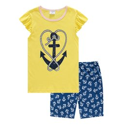 BaBy sailor suits online shopping - 2018 Cute Girl Pyjamas Sleepwear Nightgown Girls Pajamas Suits Children Clothes Set Sailor Baby Home Clothing Navy T Shirt Pant
