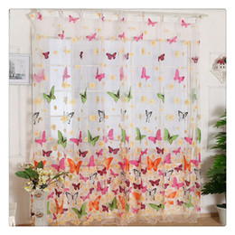 Beautiful Bedroom Curtains Canada - Hot Sale Beautiful Butterfly Print Window Sheer Curtains Panels For Living Room And Bedroom Comfort and convenience