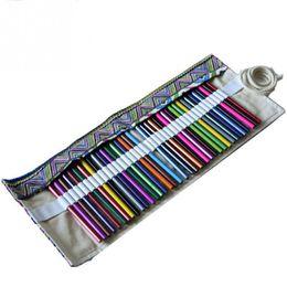 Discount fabric folding box case - Artist Pencils Pouch Case Holds Pencil Wrap Ball Pen Box 36 Holes Pencil Case Canvas Pen Roll Up Bag