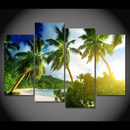 2018 Tropical Wall Art 4 Pcs Canvas Art Canvas Painting Tropical Palmy  Trees HD Printed Wall
