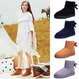 Plain fabrics online shopping - New Australia Ankle women Boots WGG Half women winter snow boots real leather Knee designer Bailey Bowknot Boots