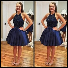$enCountryForm.capitalKeyWord Canada - Unique Navy Blue Jewel Neck Top Beaded Prom Dresses Knee Length Taffeta Backless Dresses Evening Wear Cheap Short Holiday Party Cocktail