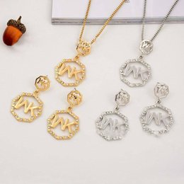 $enCountryForm.capitalKeyWord NZ - Promotion Europe And The United States Big Gold M Letter Octagonal Diamond Necklace Pendant Earrings Jewelry Two Pieces On Sale Jewelry Set