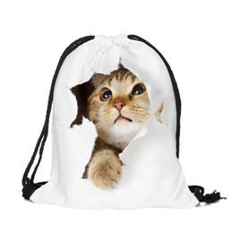 Cute Backpacks For Teenage Girls Australia - Cute 3D Cat Schoolbags Backpack for Teenage Girls,Travel Storage Backpack Shopping Bags,Drawstring Women School Bags for Ladies