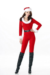 Christmas Jumpsuit Costumes NZ - Christmas Costume Women Santa Claus Red Christmas Jumpsuit Cosplay Fashion Party Jumpsuits Suit Free Size Bodysuit
