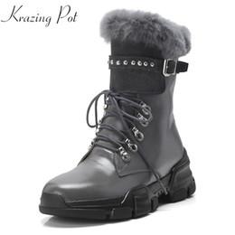 40691bd3dac18b Rabbit Fur Lace Up Boots UK - Krazing Pot 2018 cow suede rabbit hair  natural fur