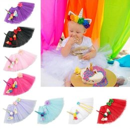 Wholesale 9 Color Girls INS Unicorn TUTU skirt hair accessory sets New summer lace Bow flower decoration short skirt kids dress years