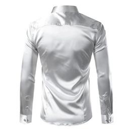 Men sliM dress business shirt online shopping - Polyester Silk Shirt Men Satin Smooth Men Solid Tuxedo Shirt Business Chemise Homme Casual Slim Fit Shiny Gold Wedding Dress Shirts
