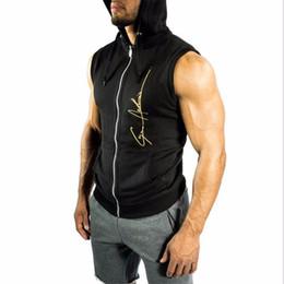 Wholesale hoodies sport vest online – oversize Mens Sleeveless Hoodies Fashion Casual Hooded Sweatshirt Men Bodybuilding Cool Tank Top Sporting Shirt Waistcoat Vest