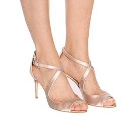nude satin shoes NZ - Cross Strap Peep Toe Sandals Buckle Strap High Heel Large Size 46 Sandals Satin Fabric Suede Leather Shoes Nude Heels