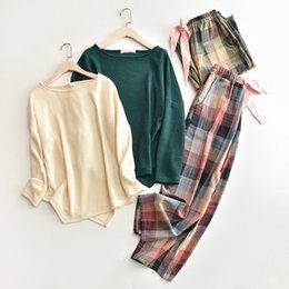 Air Pants Australia - women winter autumn air-conditioned room loose homewears ladies green top plaid wide leg pant sleep cloth female elegant pajamas