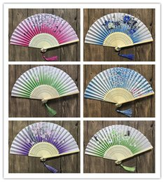 Chinese Crafts online shopping - Chinese Japanese Bamboo Folding Fan Sakura Cherry Blossom Pocket Hand Fan Summer Art Craft Gift