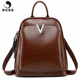 SUDS Brand Oil Wax Cow Leather Backpack Women Vintage Student Backpack Large  Capacity Female Travel Shoulder Bags Bolsa Feminina 9fa1d1f76c