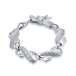 925 silver dragon chain UK - Big White Dragon Bracelet - Men's sterling silver plated bracelet ;Wedding gift ! men and women 925 silver bracelet SPB036