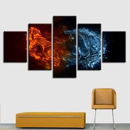 Piece Abstract Canvas Wall Prints Australia - Wall Art HD Printed Abstract Poster 5 Pieces Ice And Fire Animals Bird Crane Painting Living Room Decor Modular Canvas Pictures
