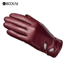 28ed1ae07836 Women s Genuine Leather Touch Screen Lady Winter Warm Sheepskin Mittens  Girls Full Finger Plus Velvet Gloves Drive B-6016 D18110705