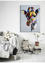 $enCountryForm.capitalKeyWord NZ - Handpainted & HD Print Modern Abstract Animal Art Oil Painting Giraffe On Canvas Wall Art Home Decor High Quality Multi Size a149