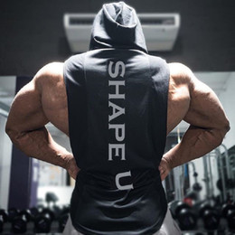 Wholesale Men s Muscle Fitness Hoodies Tank Tops Male Sleeveless Casual Gymnasium Active Workout Hooded T Shirts Vests Pullovers