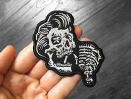 Punk Motorcycle Jacket Australia - Rockability Greaser Skull Patch Embroidered Motorcycle Applique Badge Embroidery Patch Biker Punk Parch on Clothing for Jacket Backpack