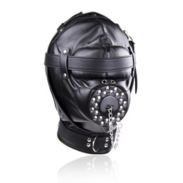 Slave Toys Shop Australia - Mouth BDSM Hood Open Bondage Slave Mask Gag Fetish Sex Toys Cosplay Punish Aux Leather Full Gimp Hooded Padded Locking Sex Shop C18110901