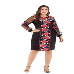 Wholesale 2018 New Fashion Women Dress Knee Length O Neck Summer Oversized Full Sleeve Ukrainian Vestidos Patchwork Big Size XL Dresses