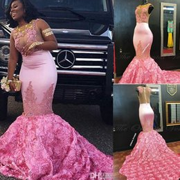 $enCountryForm.capitalKeyWord NZ - 2018 African Pink Mermaid Evening Dress Gold Lace Appliques 3D Rose Flower Flora Long Prom Dresses for Black Girls Women Party Gowns