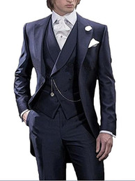 China Morning Style Navy Blue Tailcoat Groom Tuxedos Handsome Men Wedding Wear High Quality Men Formal Prom Party Suit(Jacket+Pants+Tie+Vest) 986 supplier custom tailcoat tuxedos suppliers